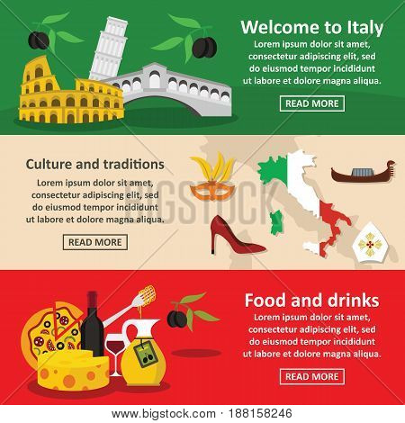 Italy travel banner horizontal concept set. Flat illustration of 3 Italy travel vector banner horizontal concepts for web