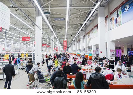 Supermarket with all kinds of products Auchan Russia Moscow February 7 2015