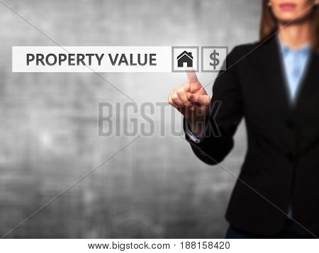 Businesswoman Pressing Property Value Button On Virtual Screens