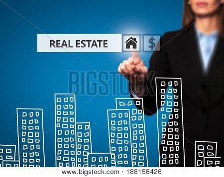 Real Estate Agent Pressing Button On Virtual Screen