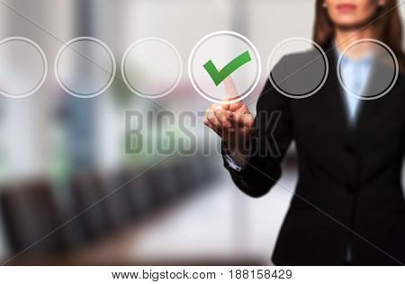 Business Women  Check Mark On Virtual Screen