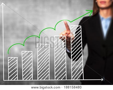 Sales Growth Graph - Businesswoman Hand Pressing Button On Touch Screen Interface.