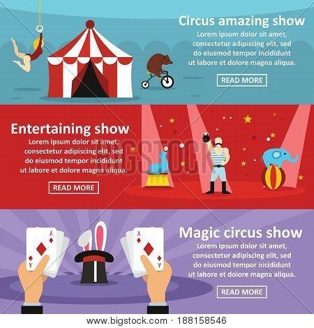 Circus show banner horizontal concept set. Flat illustration of 3 circus show vector banner horizontal concepts for web