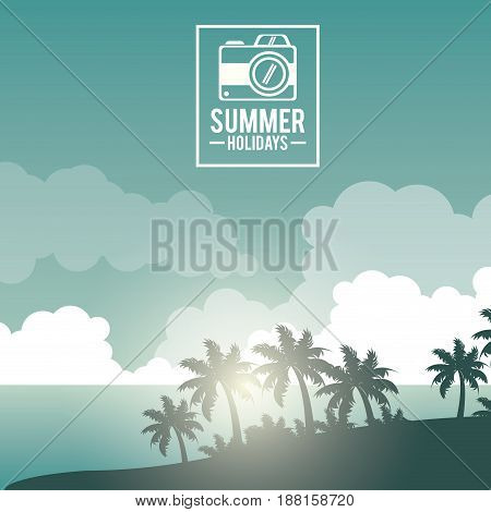 poster sky landscape of palm trees on the beach with logo summer holidays with camera vector illustration