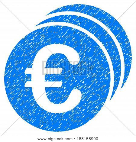 Grunge Euro Coins icon with grunge design and scratched texture. Unclean vector blue pictogram for rubber seal stamp imitations and watermarks. Draft emblem symbol.