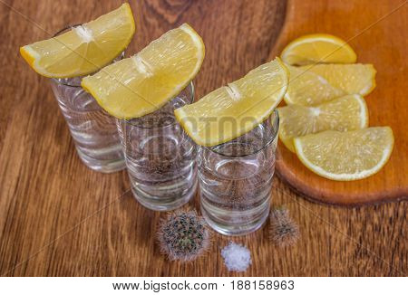 Tequila Shot With Lime, Selective Focus