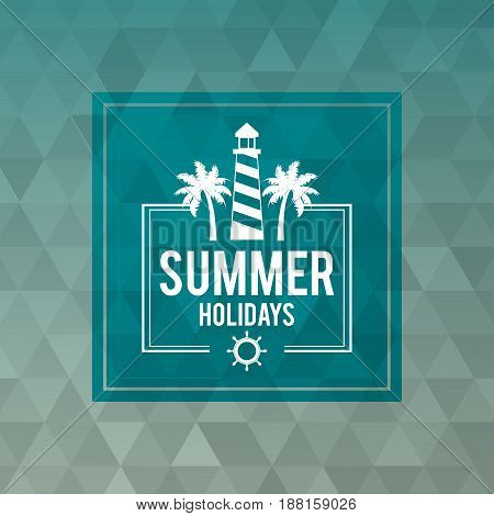 abstract polygonal background with square frame of logo text summer holidays with lighthouse vector illustration
