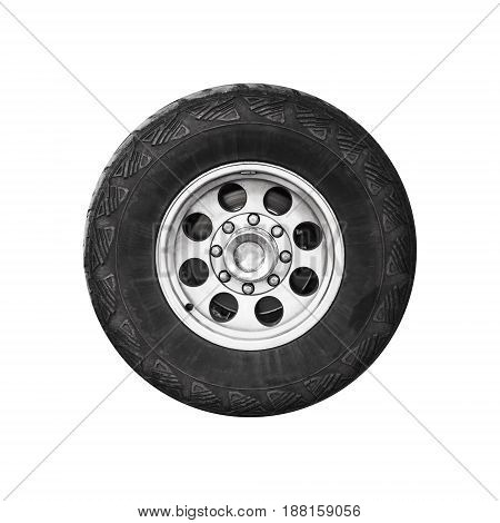 Suv Car Wheel, Frontal View Isolated On White