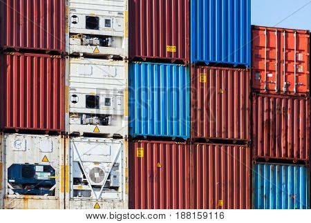 Metal Industrial Cargo Containers Stacked In Port