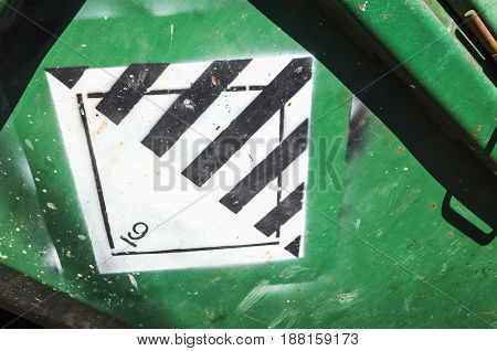 Warning Sign On Green Cargo Container