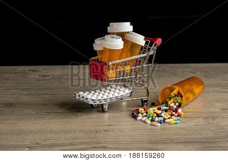Close up of a shopping trolley filled with prescription medication