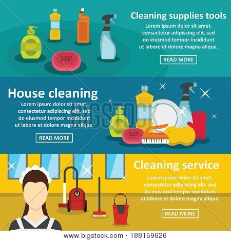 Cleaning tools banner horizontal concept set. Flat illustration of 3 cleaning tools vector banner horizontal concepts for web