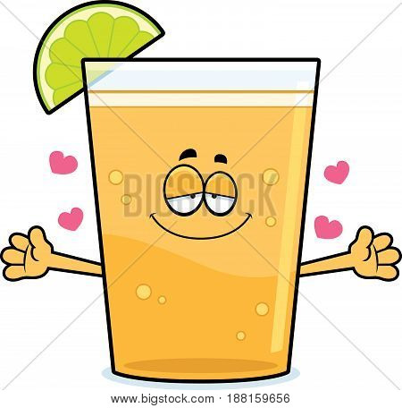 Cartoon Beer With Lime Hug