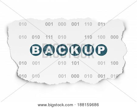 Database concept: Painted blue text Backup on Torn Paper background with  Binary Code