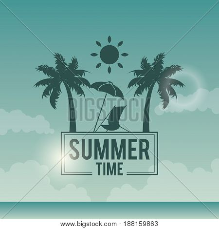 poster sky ocean landscape of logo text summer time with beach vector illustration