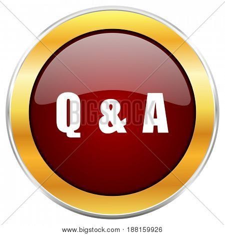 Question answer red web icon with golden border isolated on white background. Round glossy button.