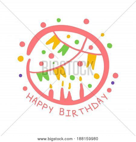 Happy Birthday promo sign. Childrens party colorful hand drawn vector Illustration for invitation, card, menu, banner, poster