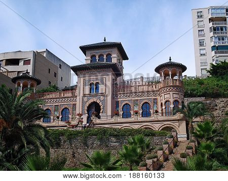 Torremolinos, Spain - September 18, 2016: Casa de los Navajas on Bajondillo Embankment