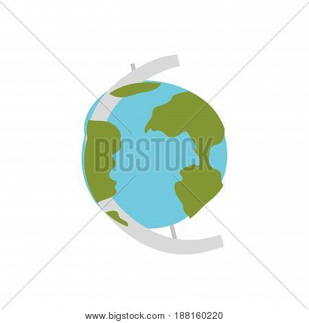 white background with hand drawn color silhouette of earth globe vector illustration
