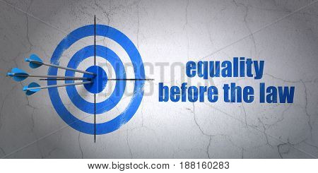 Success politics concept: arrows hitting the center of target, Blue Equality Before The Law on wall background, 3D rendering