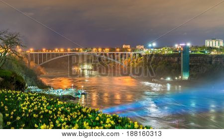 The Rainbow Bridge between USA and Canada at Niagara Falls. Night scene
