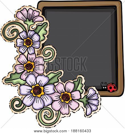 Scalable vectorial image representing a blackboard with flowers and ladybug, isolated on white.