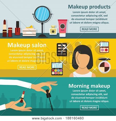 Cosmetics makeup banner horizontal concept set. Flat illustration of 3 cosmetics makeup vector banner horizontal concepts for web