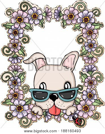 Scalable vectorial image representing a greeting card dog with flowers, isolated on white.