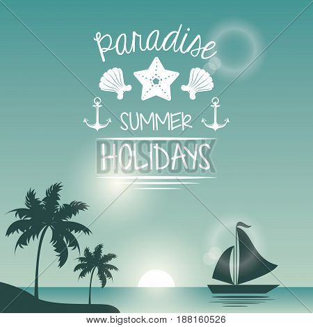 blue color poster seaside with yacht and logo text paradise summer holidays vector illustration