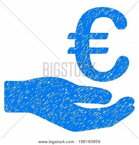 Grunge Euro Donation icon with grunge design and unclean texture. Unclean vector blue pictogram for rubber seal stamp imitations and watermarks. Draft emblem symbol.