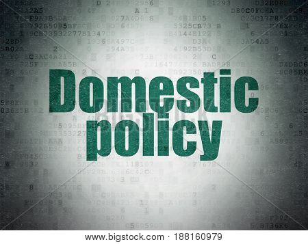 Political concept: Painted green word Domestic Policy on Digital Data Paper background