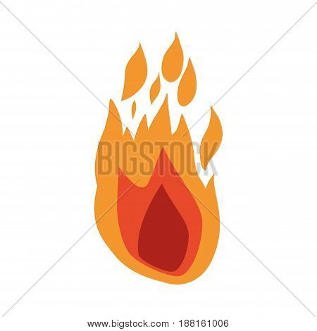 white background with hand drawn color silhouette of flame vector illustration