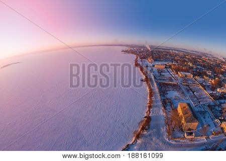 The ancient town of Rostov the Great bird's-eye view. Frosty morning. Winter. Yaroslavl Region. View from the fish-eye effect. Russia