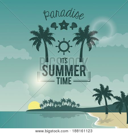 blue color poster seaside with logo text paradise summer time vector illustration