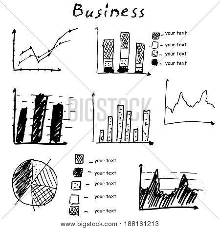 Business finance hand drawn elements. Vector graph, chart, pie
