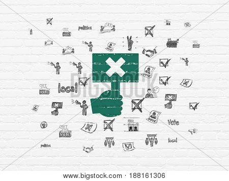 Politics concept: Painted green Protest icon on White Brick wall background with  Hand Drawn Politics Icons