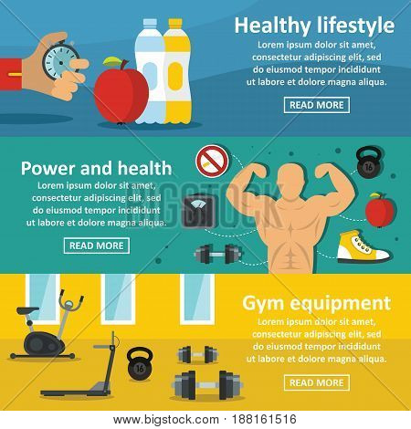 Gym healthy banner horizontal concept set. Flat illustration of 3 Gym healthy vector banner horizontal concepts for web