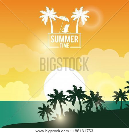 poster sunset landscape of palm trees on the beach with logo summer time vector illustration