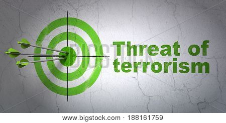 Success political concept: arrows hitting the center of target, Green Threat Of Terrorism on wall background, 3D rendering