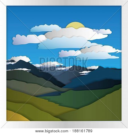 mountains clouds and sun, a gift card from paper
