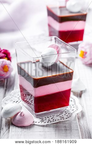 Fruit dessert Panna Cotta with candies in a glass on light background close up. Top view