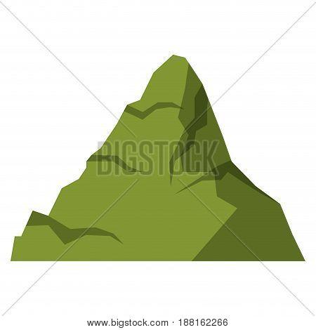 white background with green silhouette of mountain peak vector illustration