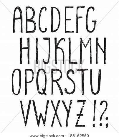 Vector alphabet with grunge sketch texture. Hand drawn decorative uppercase letters for posters, greeting cards, invitations.
