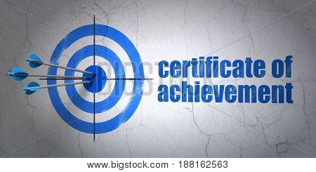 Success Education concept: arrows hitting the center of target, Blue Certificate of Achievement on wall background, 3D rendering