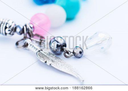 Bracelet on white background isolated close - up
