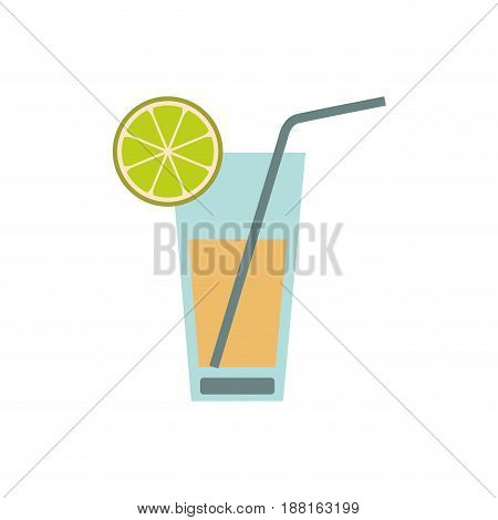 color silhouette of cocktail drink with lemon slice vector illustration