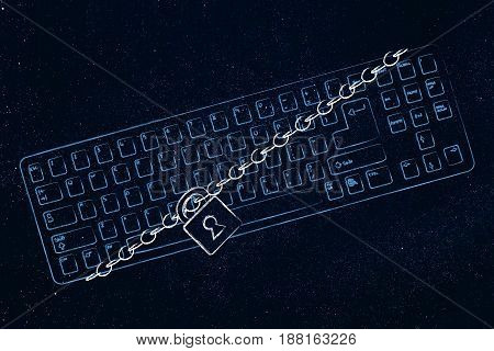 Computer Keyboard With Lock And Chain