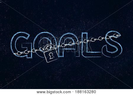 Lock And Chain Blocking Or Protecting The Word Goals