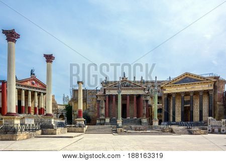 Rome Italy april 1st 2017: Reconstruction of ancient Rome in the Cinecitta studios. Cinecitta (Cinema City) is a large film studio in Rome that is considered the hub of Italian cinema.