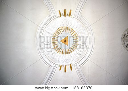 MAINZ, GERMANY - MAY 14: The ceiling paneling and stucco work with sacred art in form of the all-seeing eye in the St. Stephan church on May 14, 2017 in Mainz.